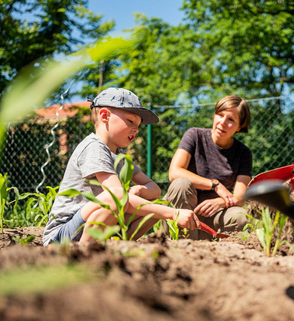 Jennifer Usadel erklärt Milo, wie man Gurken pflanzt.